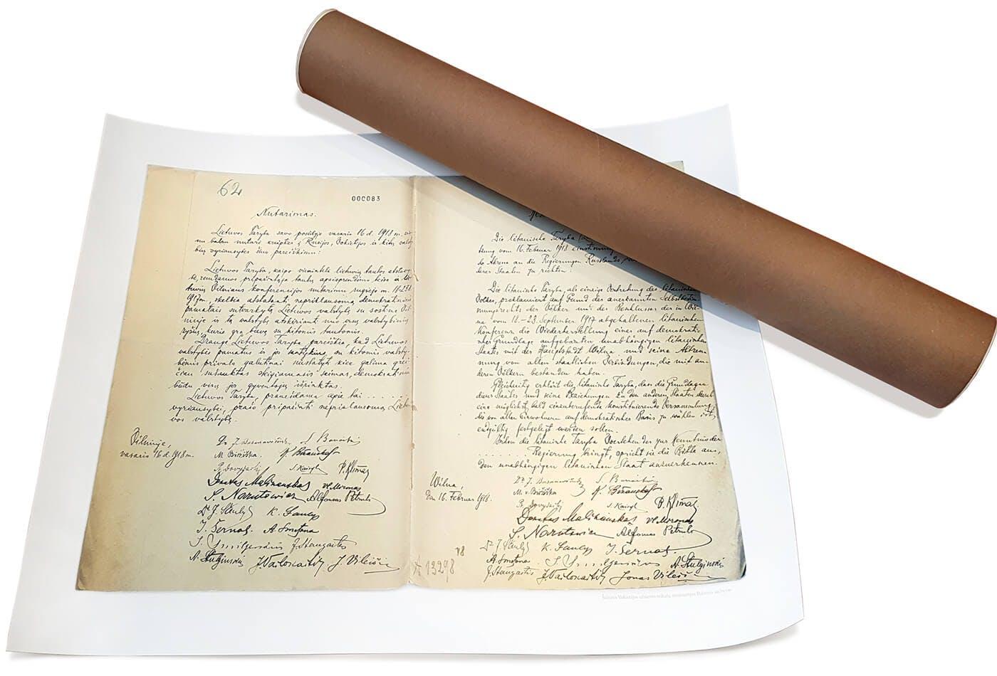 NEPRIKLAUSOMYBĖS AKTAS: ilgai ieškotas dokumentas, kuris papuoš kiekvieno tikro lietuvio namus ar kabinetą – originalaus 1:1 dydžio kopija, atspausdinta ant storo neblunkančio popieriaus, tinkamo rėminimui