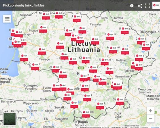 DPD PICKUP siuntų taškai ir terminalai Lietuvoje